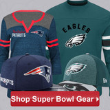 New England Patriots vs Philadelphia Eagles Super Bowl Gear + FREE Rush Two Delivery