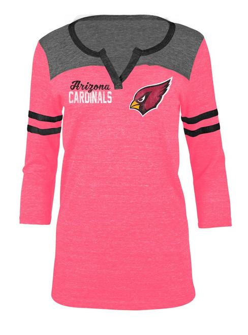 Arizona Cardinals T Shirt Ladies Henley Quarter Sleeve Tee