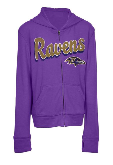 Girls Baltimore Ravens Hoodie Full Zip Brushed Knit Jacket