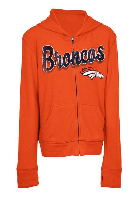 Girls Denver Broncos Hoodie Full Zip Brushed Knit Jacket