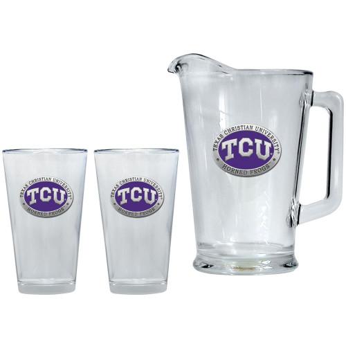 TCU Texas Christian Pitcher and 2 Pint Glass Set Beer Set