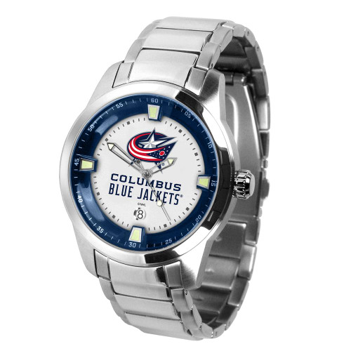 Mens Columbus Blue Jackets Watch Stainless Steel Titan Watch