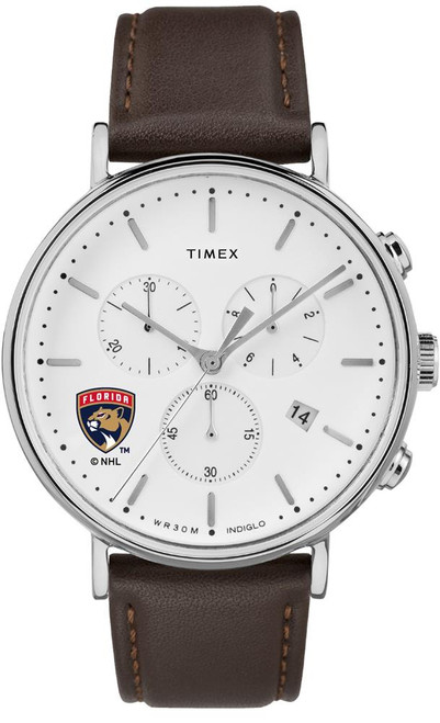 Mens Florida Panthers Watch Chronograph Leather Band Watch