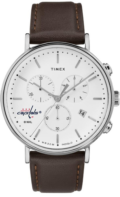 Mens Washington Capitals Watch Chronograph Leather Band Watch