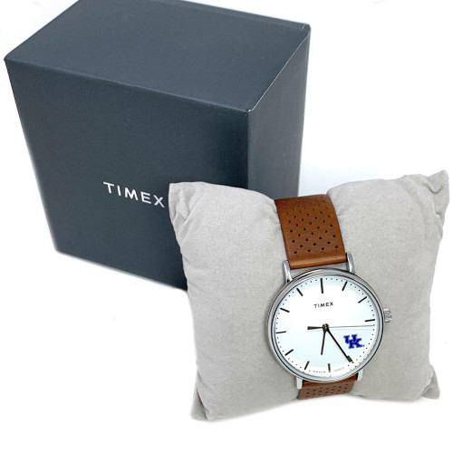 Womens Timex Columbus Blue Jackets Watch Bright Whites Leather