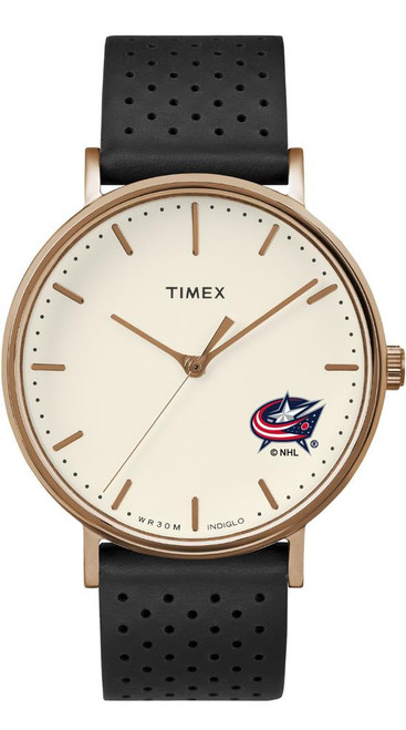 Ladies Timex Columbus Blue Jackets Watch Rose Gold Grace Watch
