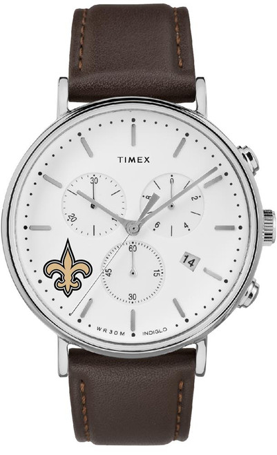 Mens New Orleans Saints Watch Chronograph Leather Band Watch