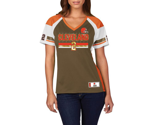 uk availability adb3c ac87e Ladies Johnny Manziel Cleveland Browns Jersey Draft Him Fashion Top