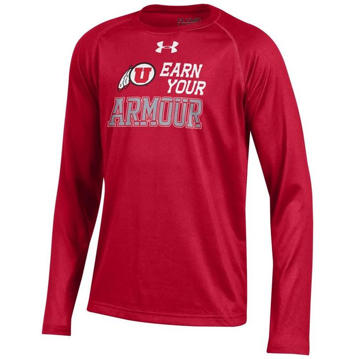 Youth Under Armour University of Utah Utes Tech Long Sleeve Tee