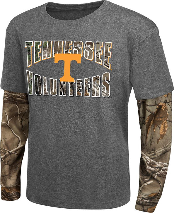 Youth Camo Layered Tennessee Volunteers Vols UT Long Sleeve Tee