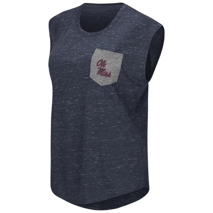 Ole Miss Rebels Ladies Pocket Tee Heathered Vintage T-Shirt