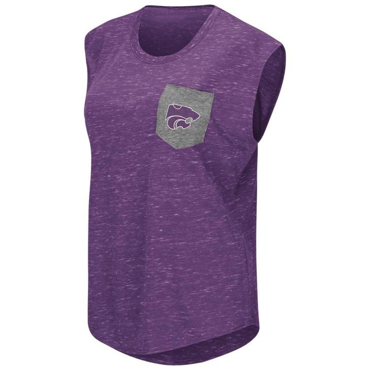 Kansas State University Ladies Pocket Tee Heathered Vintage T-Shirt