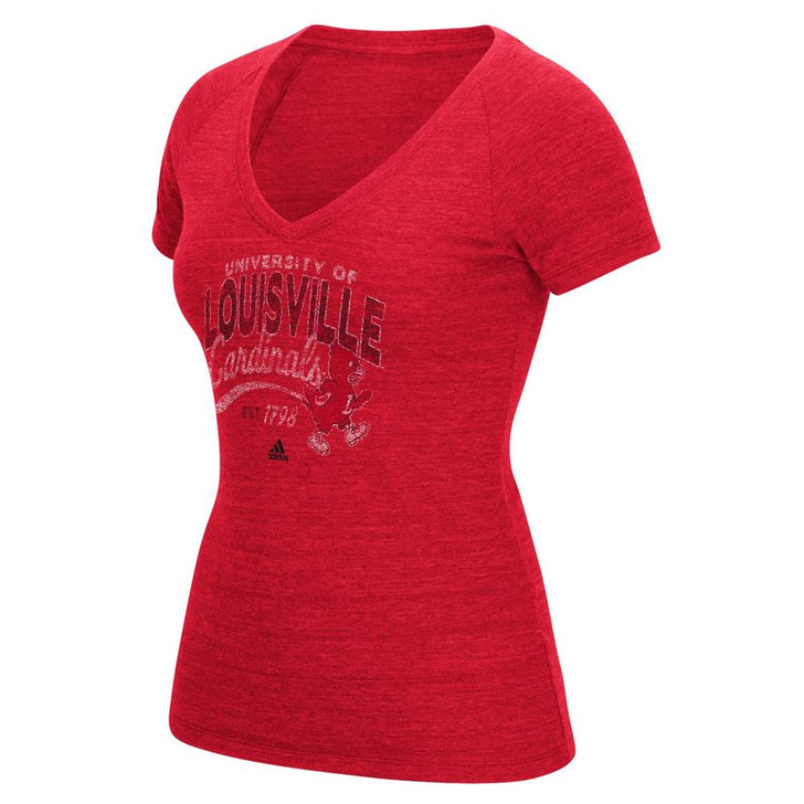 Louisville Cardinals Adidas Tee Middle Script Distressed V-Neck