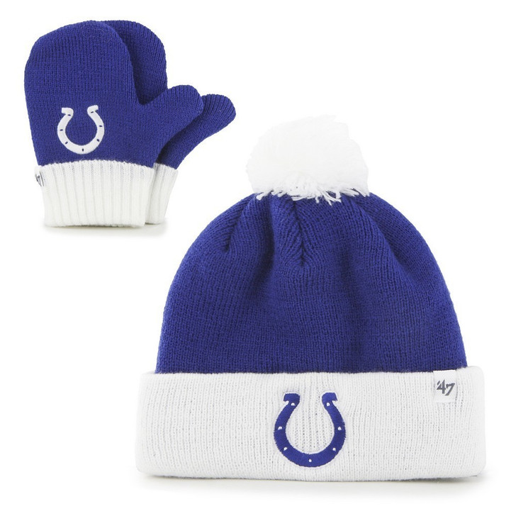 Infant Knit Indianapolis Colts Hat and Mittens Set