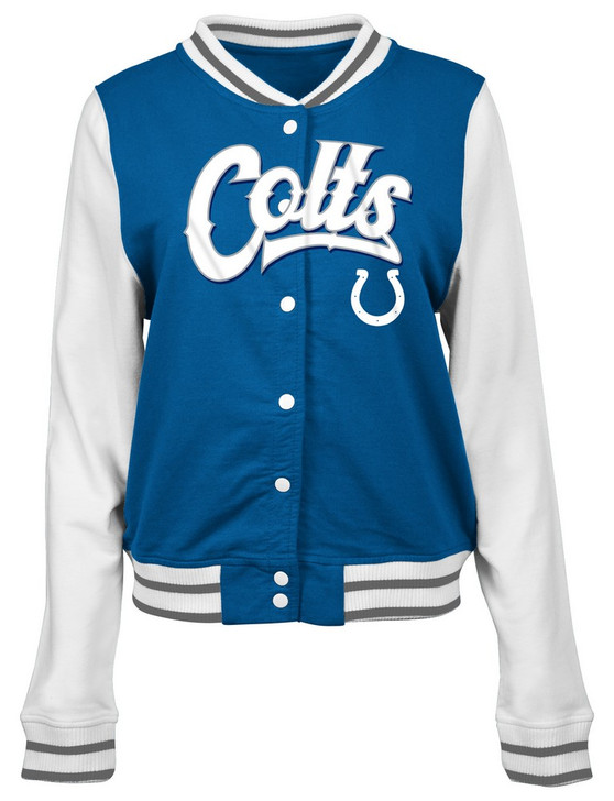 Indianapolis Colts Letterman Jacket Ladies French Terry Coat