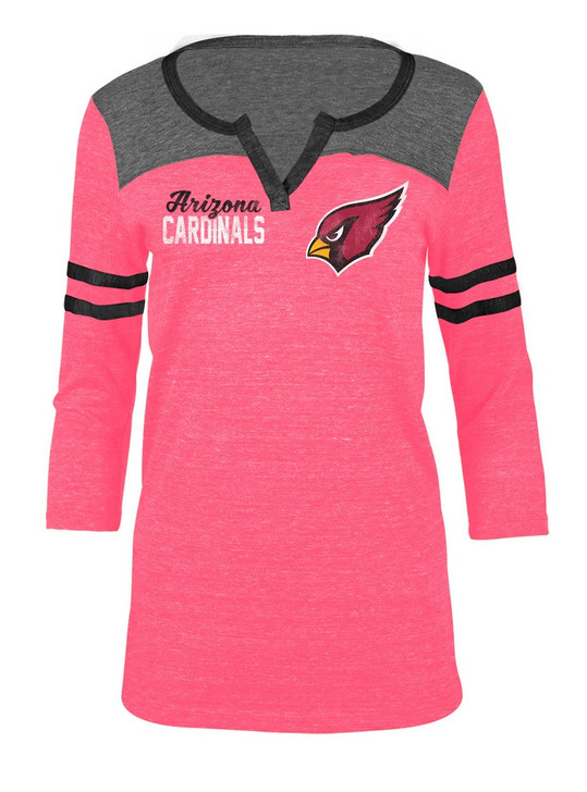 Arizona Cardinals T Shirt Ladies Henley Quarter Sleeve Tee