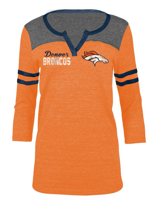 Denver Broncos T Shirt Ladies Henley Quarter Sleeve Tee