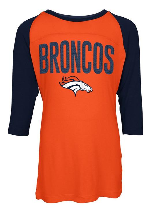 Denver Broncos Raglan Shirt Youth Girls Graphic Tee
