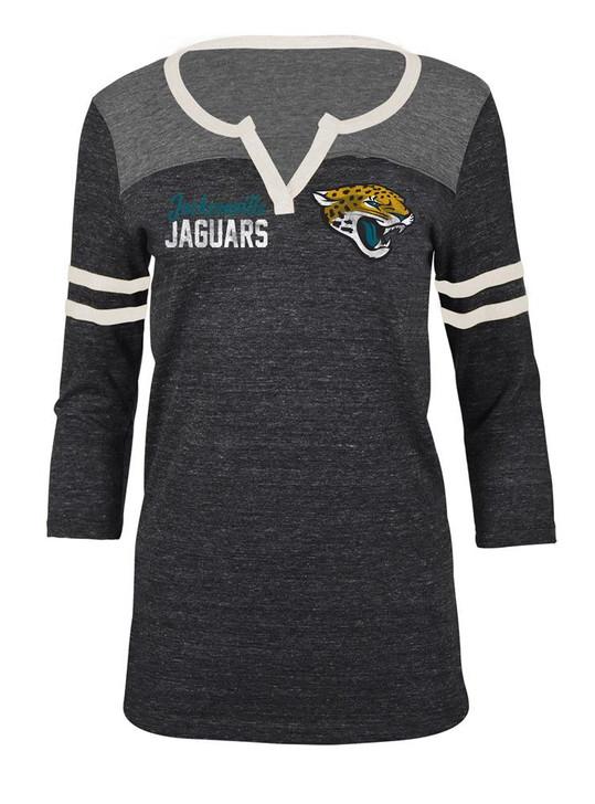 Jacksonville Jaguars T Shirt Ladies Henley Quarter Sleeve Tee