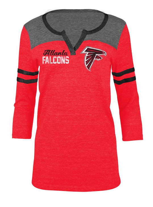 Atlanta Falcons T Shirt Ladies Henley Quarter Sleeve Tee
