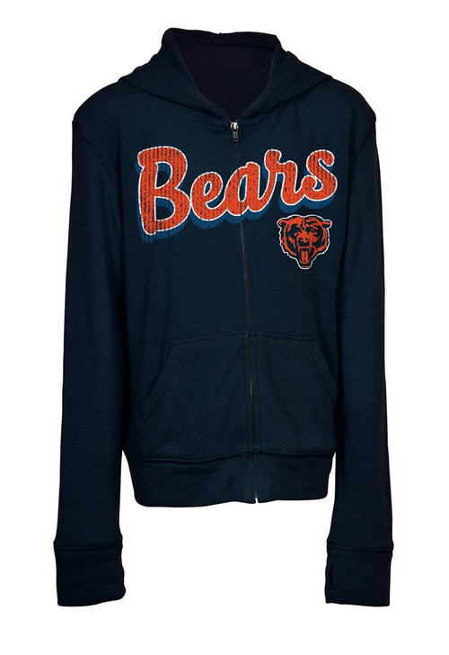 Girls Chicago Bears Hoodie Full Zip Brushed Knit Jacket
