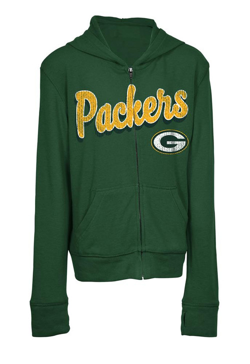 Girls Green Bay Packers Hoodie Full Zip Brushed Knit Jacket