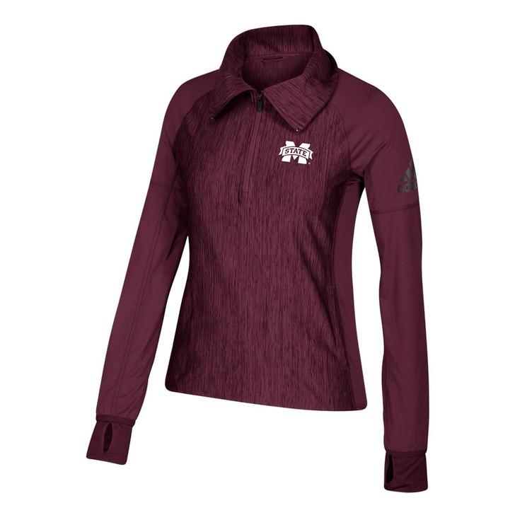 Mississippi State Bulldogs Women's 1/4 Zip Adidas Heathered Jacket