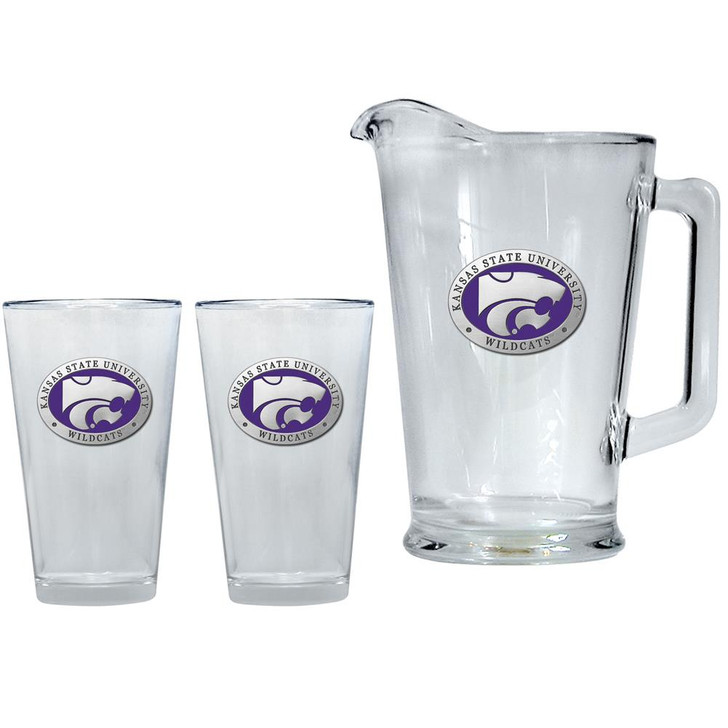 Kansas State University Pitcher and 2 Pint Glass Set Beer Set