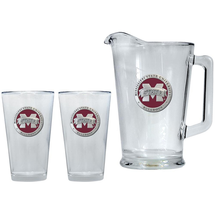 Mississippi State Bulldogs Pitcher and 2 Pint Glass Set Beer Set