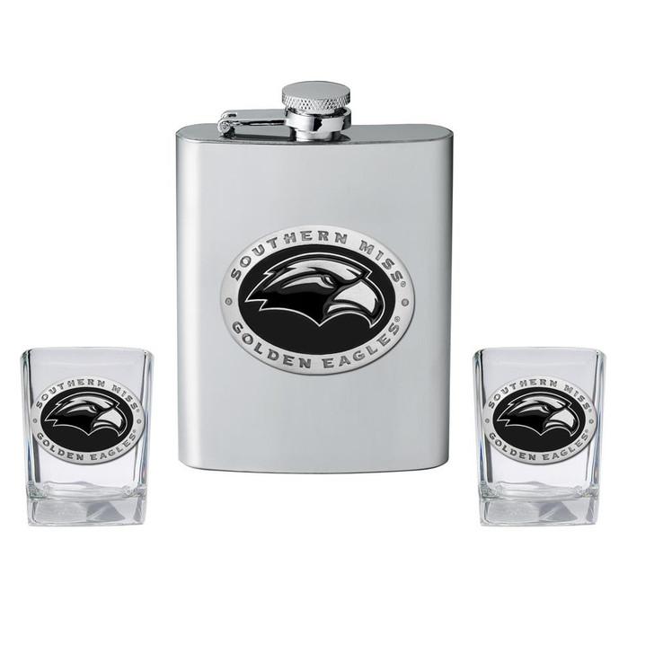 Southern Miss USM Flask and 2 Shot Glass Set Liquor Flask