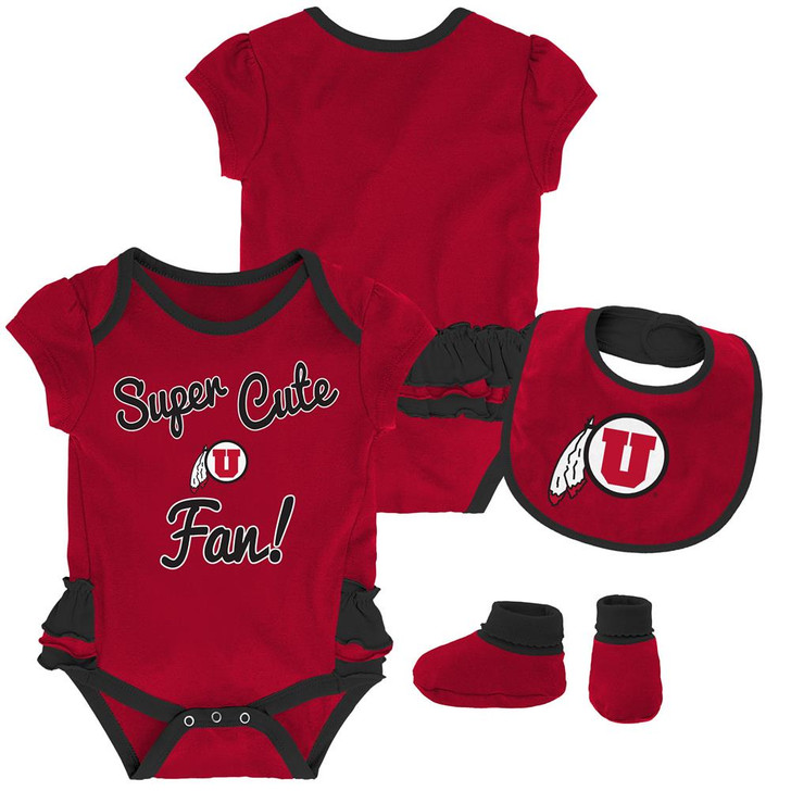 University of Utah Utes Creeper, Bib and Bootie Set Infant Set