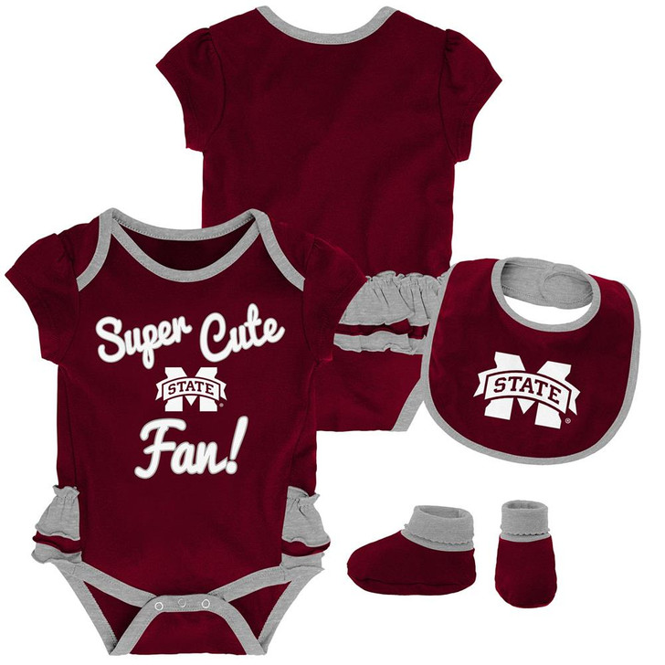 Mississippi State Bulldogs Creeper, Bib and Bootie Set Infant Set
