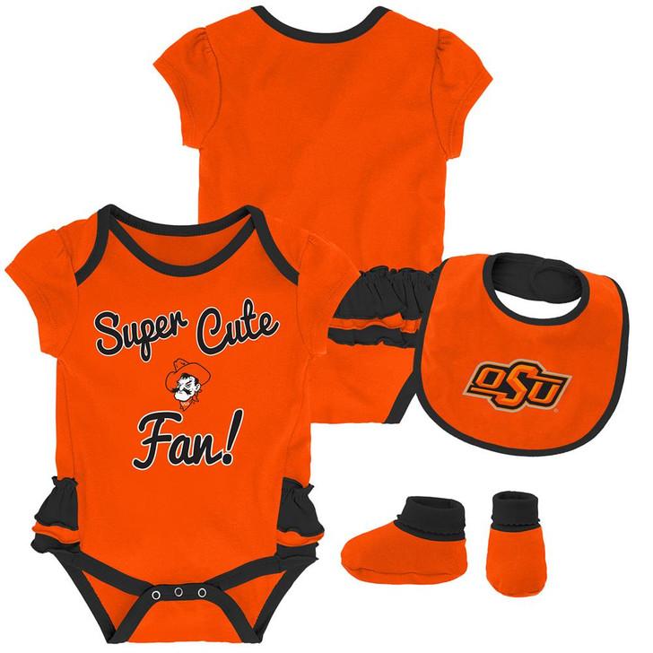 Oklahoma State University Creeper, Bib and Bootie Set Infant Set