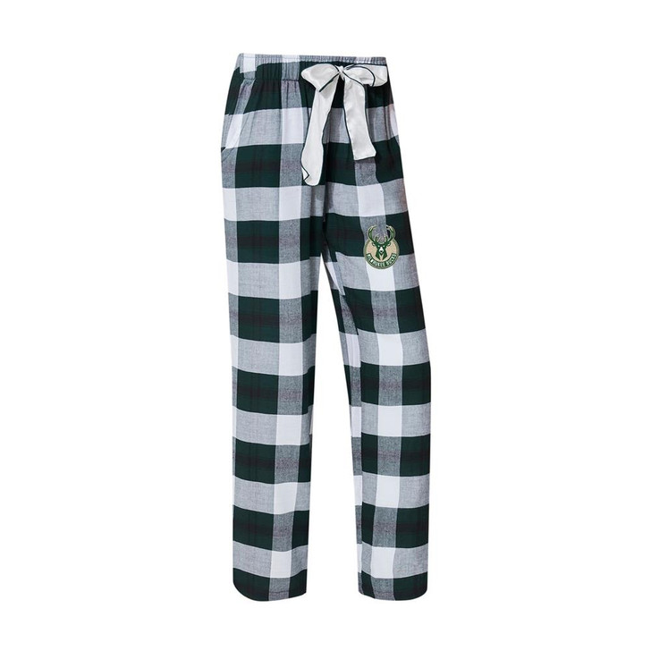 Milwaukee Bucks Women's Flannel Pajamas Plaid PJ Bottoms
