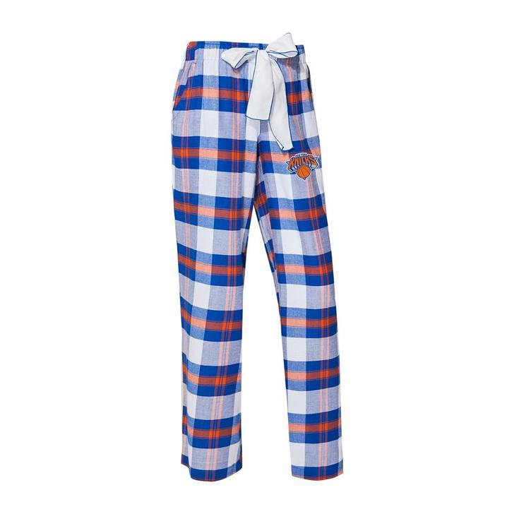New York NY Knicks Women's Flannel Pajamas Plaid PJ Bottoms