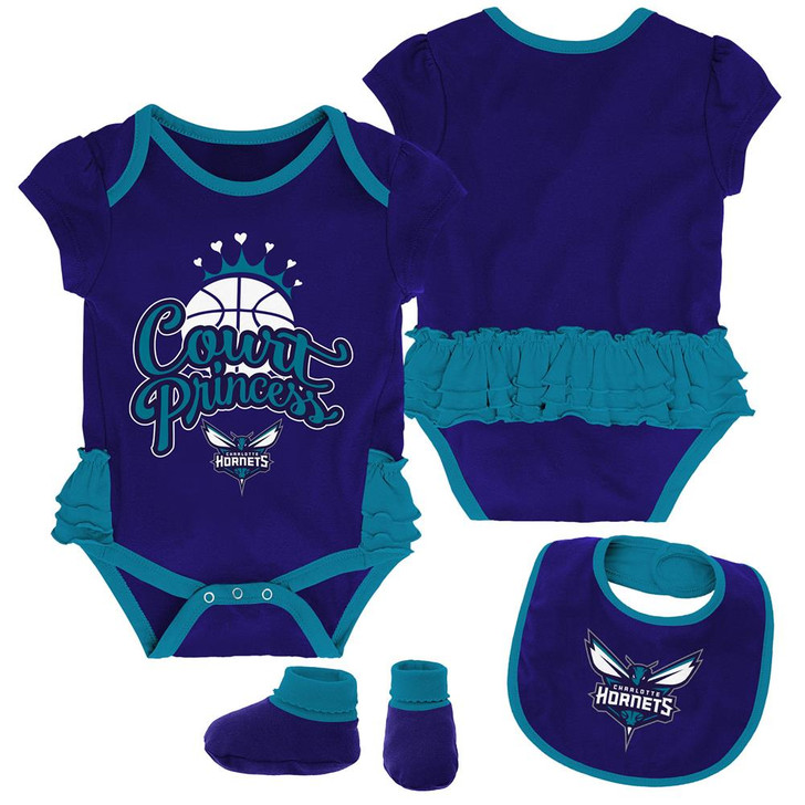 Charlotte Hornets Creeper, Bib and Bootie Set Infant Set