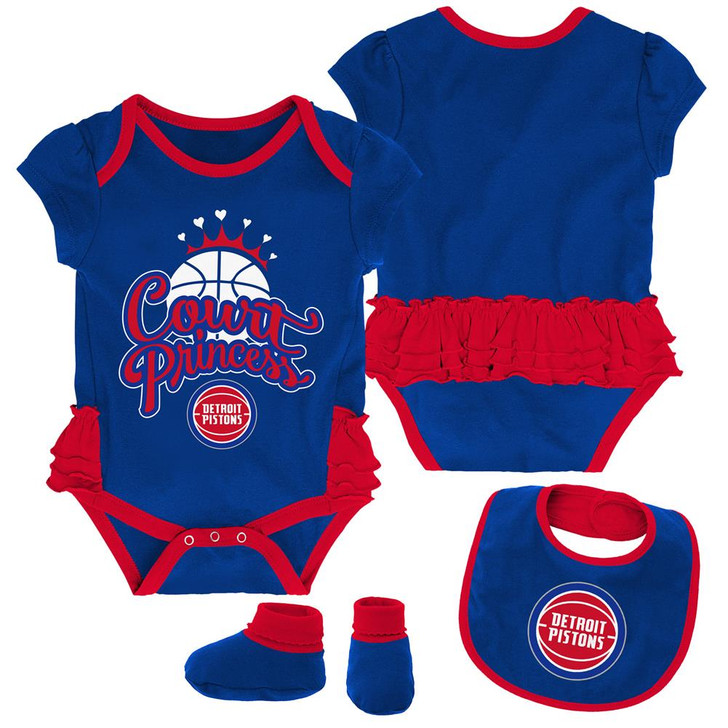 Detroit Pistons Creeper, Bib and Bootie Set Infant Set