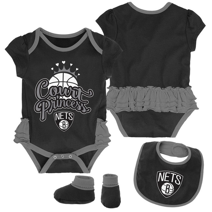 Brooklyn Nets Creeper, Bib and Bootie Set Infant Set