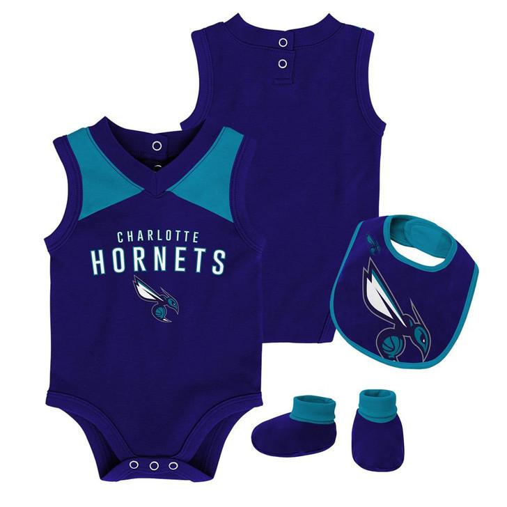 Infant Charlotte Hornets Creeper Set Baby Snapsuit Set