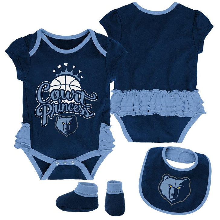 Memphis Grizzlies Creeper, Bib and Bootie Set Infant Set