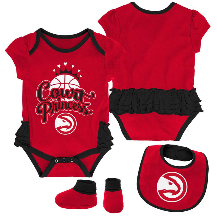 Atlanta Hawks Creeper, Bib and Bootie Set Infant Set
