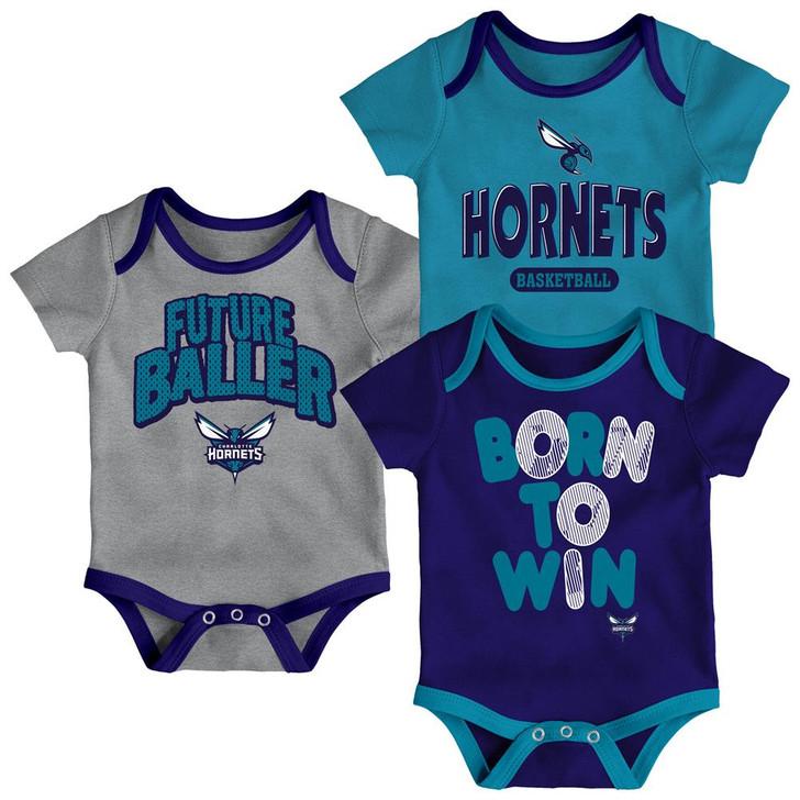 Charlotte Hornets Infant Creeper Set Lil Tailgater 3 Pack