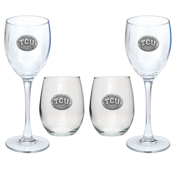 TCU Texas Christian Goblet Set Stemmed and Stemless Wine Set