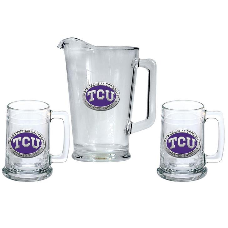 TCU Texas Christian Pitcher and 2 Stein Glass Set Beer Set
