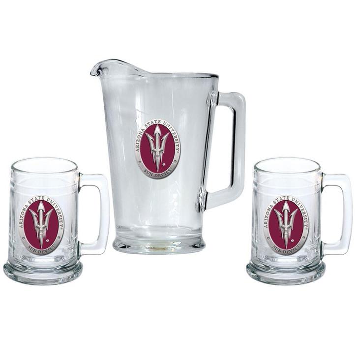Arizona State University Pitcher and 2 Stein Glass Set Beer Set