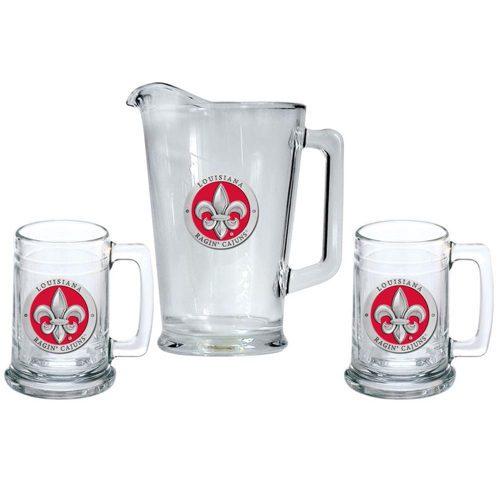 Louisiana Lafayette Pitcher and 2 Stein Glass Set Beer Set