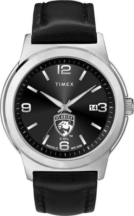 Men's Florida Panthers Watch Black Leather Band Timex Ace
