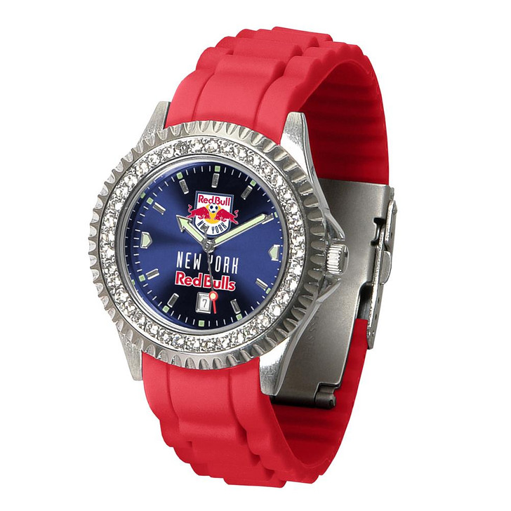 Ladies New York Red Bulls Watch Silcone Band Crystal Bezel
