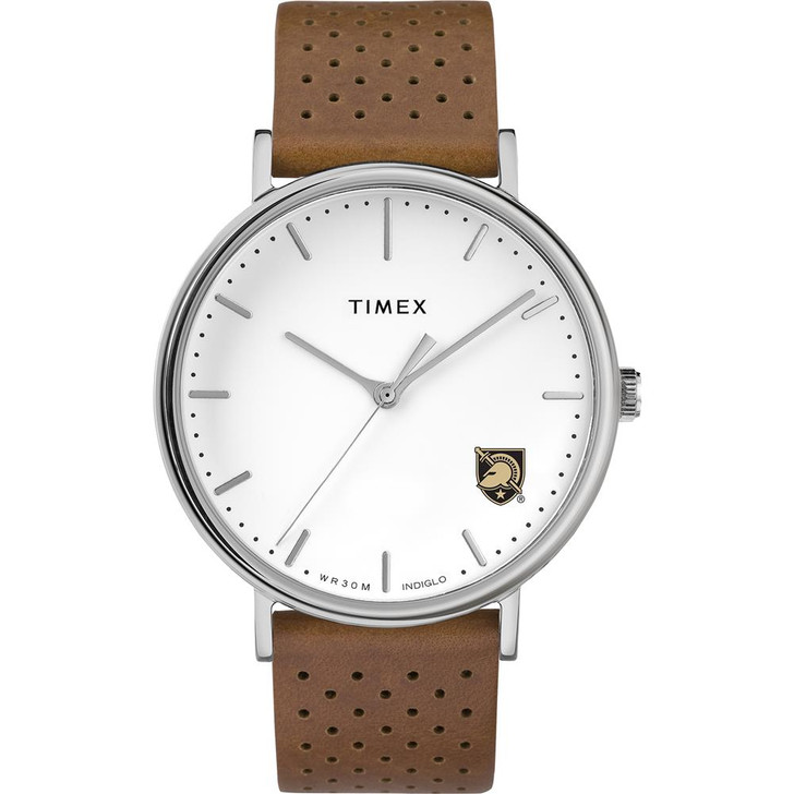 Womens Timex Army Black Knights Watch Bright Whites Leather