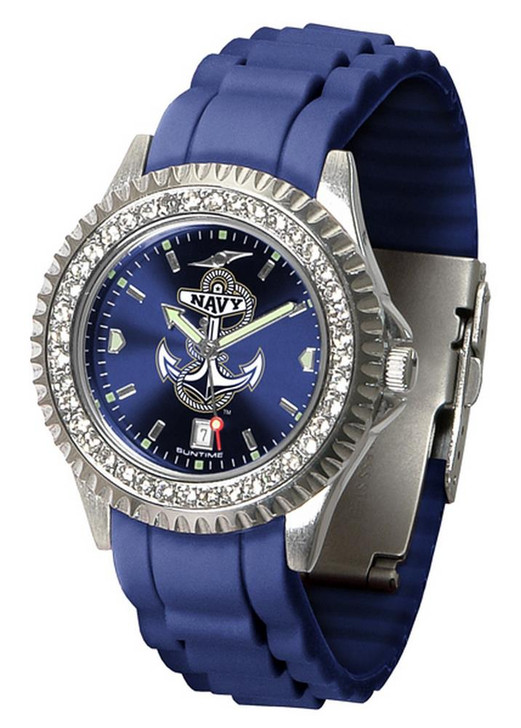 Women's Naval Academy Navy Watch Sparkle Bezel Silicone Band
